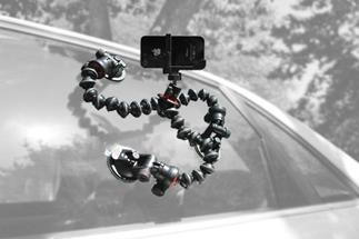 The miniSquid suction cups give you a lot of mounting options (camera, ballhead and Gorillapod tripod not included)