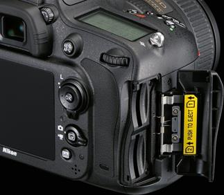 The Nikon D610 full-frame DSLR features a dual memory card bay