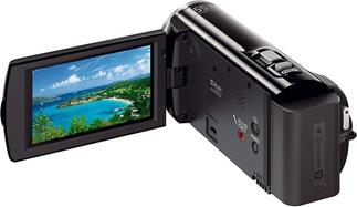 The Sony Handycam® HDR-CX380V, with the touch-screen LCD display deployed