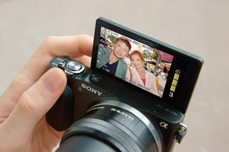 The Sony Alpha NEX-3N has a flippable LCD screen that makes self-portraits a snap.