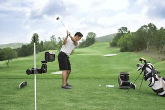 The Sony HDR-AS15 Golf Action Camera Package in use on the links