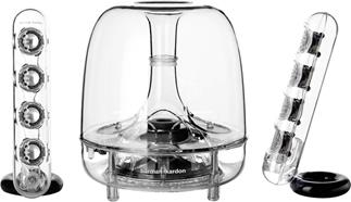 Elegant design meets high-tech sound in the Harman Kardon Soundsticks Wireless speaker system.