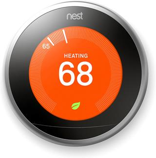 Farsight technology lights up the 480 x 480 pixel display on the 3rd generation Nest Learning Thermostat as soon as it senses that you've entered the room.