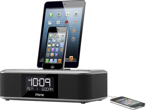 iHome iDL100 FM clock radio with USB and dual Lightning connector docks