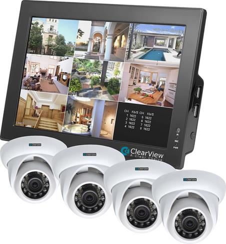 "Clearview CBT-08-4D 4ch Touchscreen Combo DVR w/ 10"" LCD Monitor and 4 Dome Cameras"