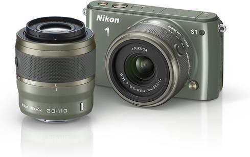 Nikon 1 S1 with two lenses (khaki)
