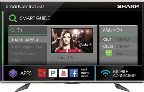 SmartCentral on-screen interface