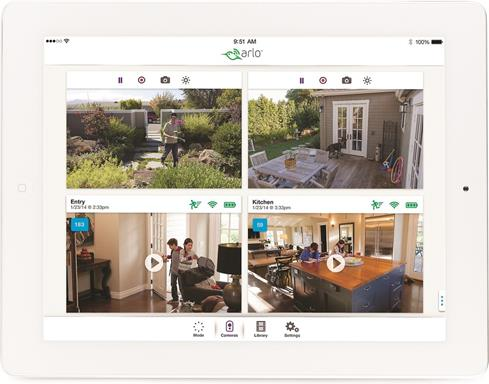 A free app lets the Arlo VMS3330 show multiple camera views on your smart device.