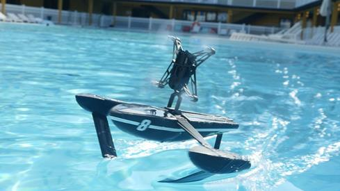 The Parrot News Minidrone with hydrofoil moves quickly through the water.