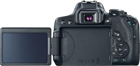 "The Canon EOS Rebel T6i bright, fully articulated 3"" touchscreen"