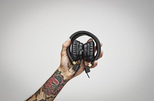The Marshall Major II headphones fold into an easy to carry bundle
