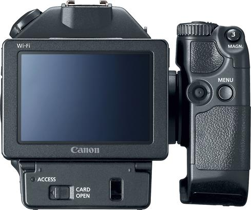 Canon's XC15 has a rotating grip that makes handheld shooting a breeze.