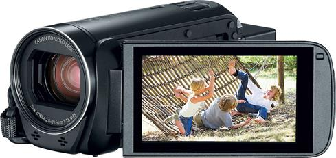 "A 3"" tilting LCD touchscreen on the Canon VIXIA HF R800 helps frame and review shots, including selfies"