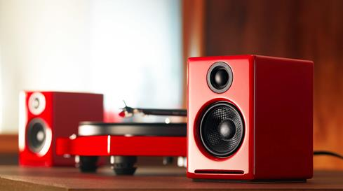 Matching gloss red turntable and speakers make this bundle a feast for the eyes and ears.