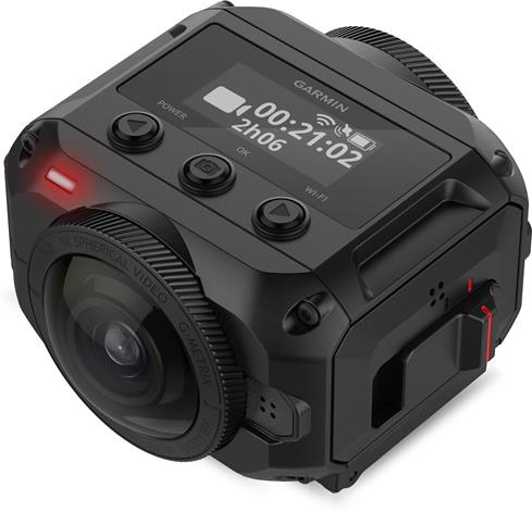 Garmin's VIRB 360 action cam can be controlled via easy-to-use buttons, or voice commands.