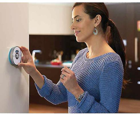 The Honeywell Lyric RoundT features a motion-activated touchscreen.