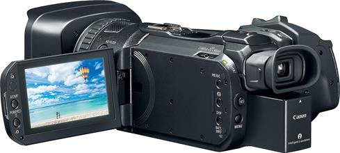 The Canon VIXIA GX10's 3-1/2-inch tilting LCD touchscreen helps with framing, playback, and selecting camera functions.