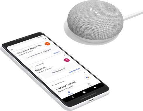 Google Home Mini with Google Pixel II phone