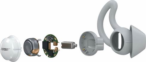 Exploded view of the Bose Sleepbuds
