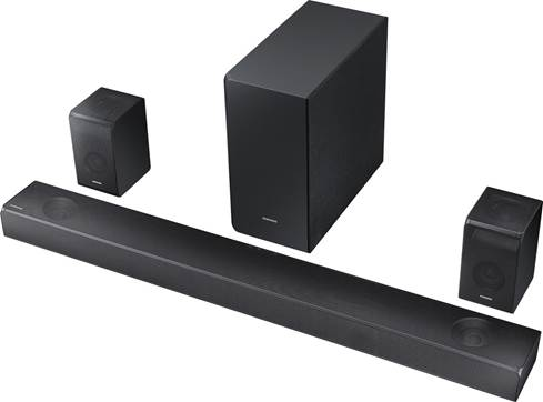 Samsung HW-N950 sound bar has wireless subwoofer and surround speakers with up-firing drivers.