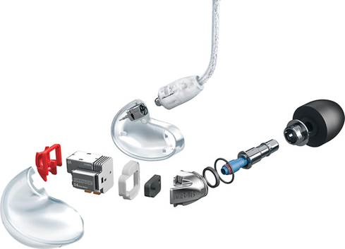 Exploded view of the SE846 earphones