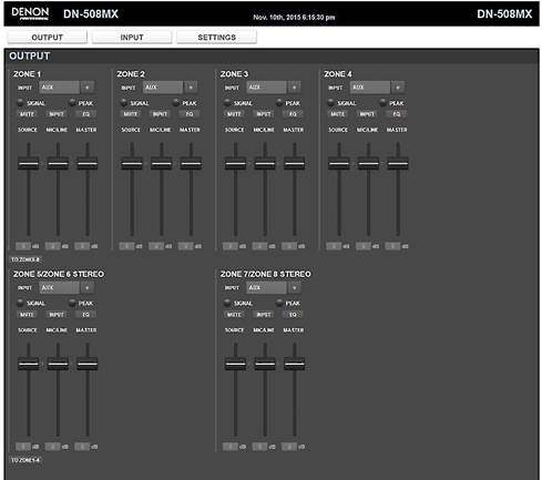 Web-based graphic user interface for Denon DN-508MX
