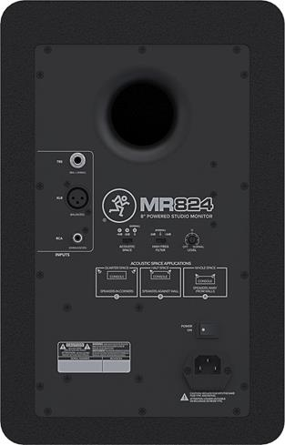Back panel of Mackie MR824 powered studio monitor