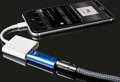 AudioQuest DragonFly Cobalt connected to iPhone