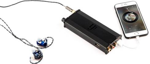 iFi Audio micro IDSD black label connected to phone