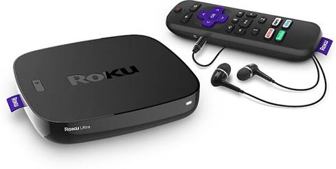 Roku Ultra with included remote and earbuds