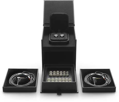 Sony IER-Z1R in-ear headphones inside their jewelry-box-style case