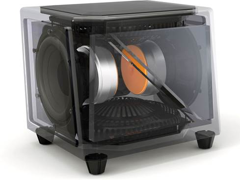 "GoldenEar SuperSub X dual 8"" compact powered subwoofer"