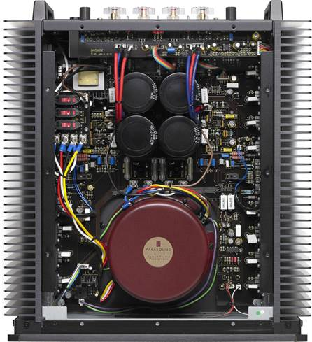 Interior of Parasound Halo A 21+ amplifier