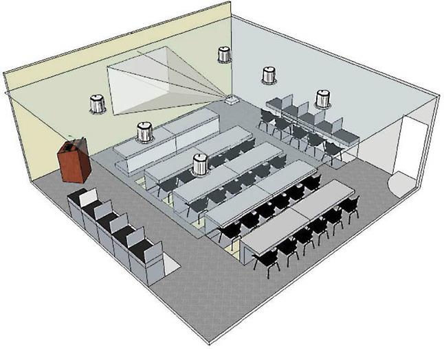 Training room or classroom sound system for rooms that for Training room design layout
