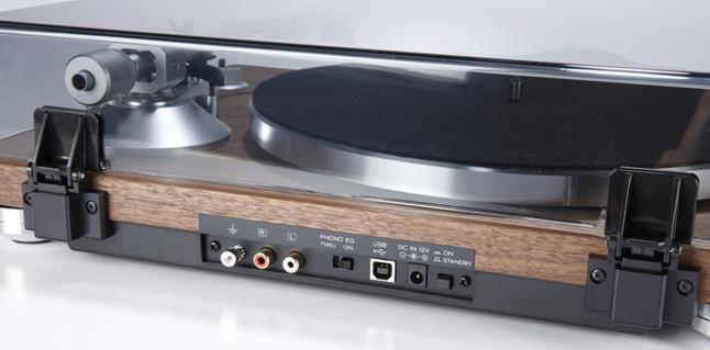 The TEAC TN-400 provides RCAs to connect to your amp and speakers, and a USB port for archiving your favorite tracks in digital form.