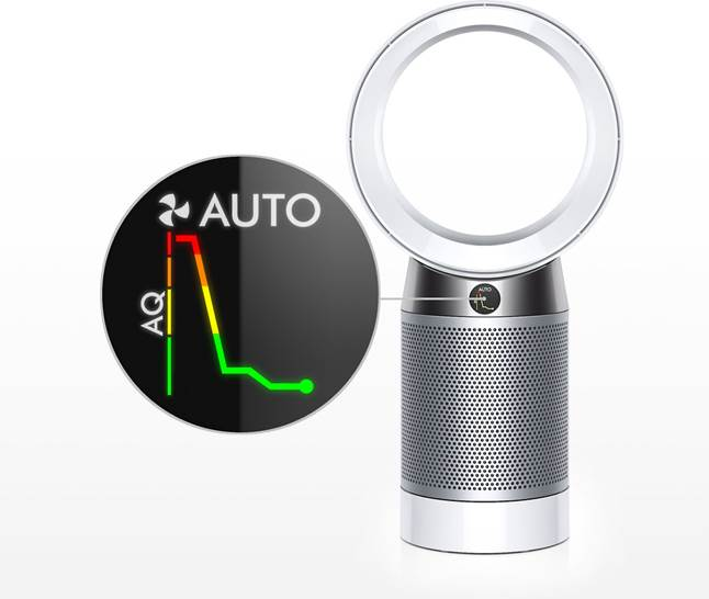 Dyson Pure Cool DP04 Desk Fan shows air quality in real time on LCD screen.
