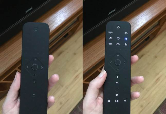 Bose Universal Soundbar Remote has context-sensitive buttons