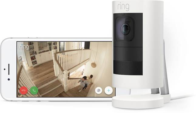 Ring Stick Up Cam and app footage of home