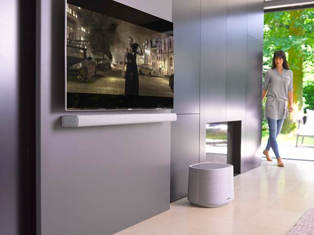 Harman Kardon Citation sub and bar in a modern living room