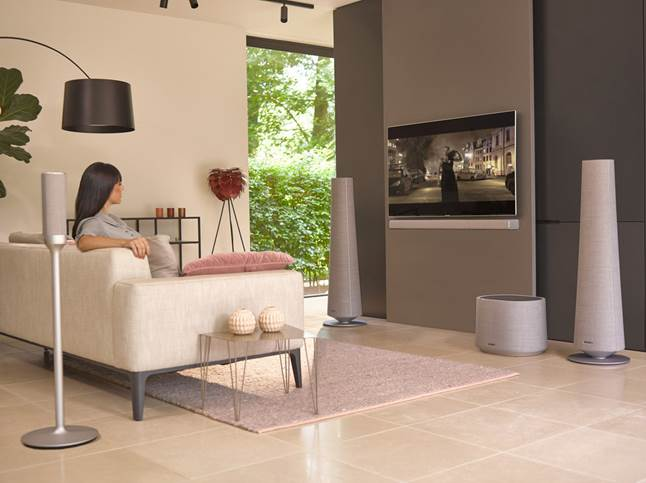 Full Harman Kardon Citation surround setup in modern living room