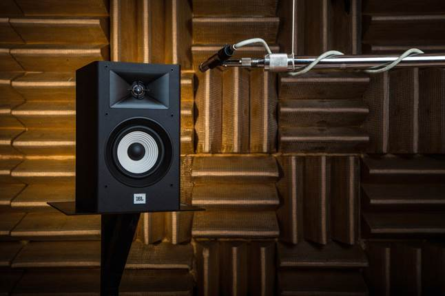 JBL Stage A120 bookshelf speakers in anechoic chamber