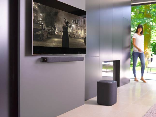Harman Kardon Enchant 800 sound bar shown with optional subwoofer.