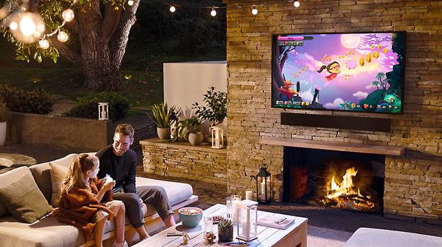 Samsung The Terrace TV and sound bar on a patio