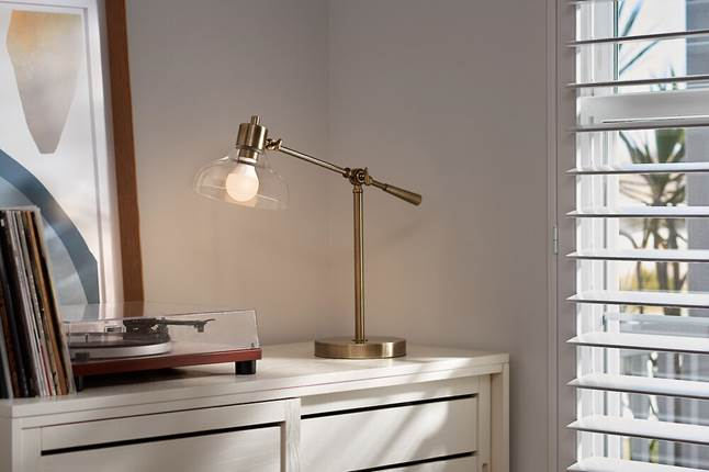 Ring A19 smart bulb in desk lamp