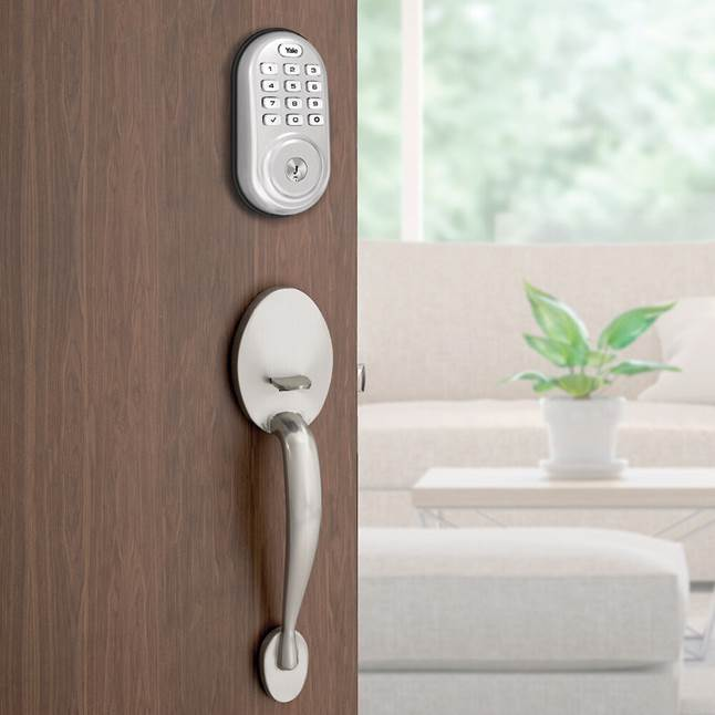 Yale Real Living Assure Lock Keypad Deadbolt on exterior entry door