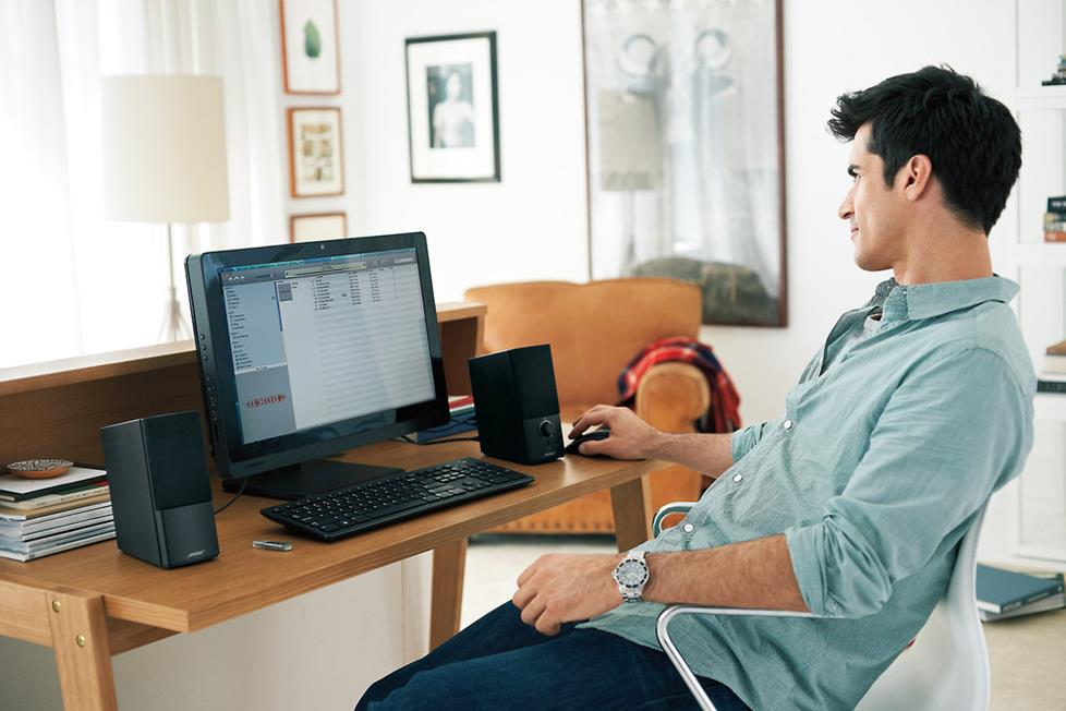 The Bose® Companion® 2 Series III speaker system produces enhanced sound at your connected workstation.