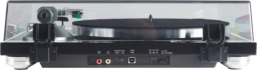 The TEAC TN-350 has a built-in phono preamp and a USB output so you can digitize your collection.