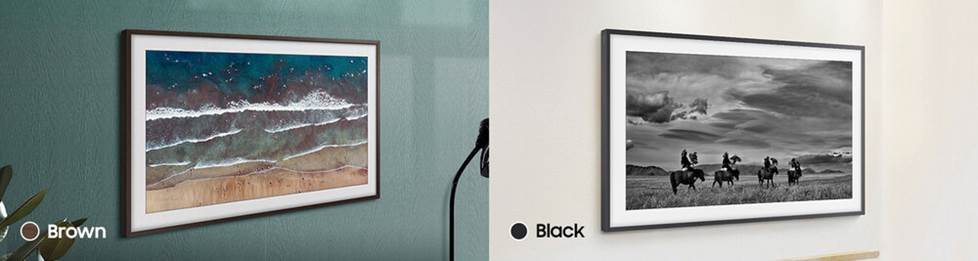 Customizable bezel for Samsung frame TV in black or brown.