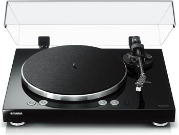 on a Yamaha TT-N503 MusicCast Vinyl 500 manual belt-drive turntable