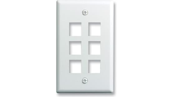 On-Q Single-Gang Wall Plate (White) 6-Port Single-Gang Wall Plate